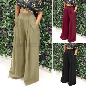 AU STOCK Women Summer High Waist Pockets Chino Pants Plus Size Wide Leg Trousers