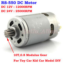 RS-550 Motor DC 12V 24V 25000RPM High Speed 10 Teeth Gear DIY Kid Car Boat Model