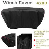 420D Winch Dust Cover Soft Black Waterproof For 5,000LB-13,000LB Trailer ATV SUV