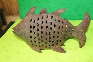 Iron Fish Antique Handmade Fish Tea light Candle Figurine Statue Decor FOLK Art
