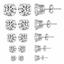 Guaranteed 925 Solid Sterling Silver Cz Earrings 5 Pack Pairs Sets Round Studs
