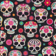 Floral Skulls Paisley Flowers on Black Quilting Fabric FQ or Metre *New*