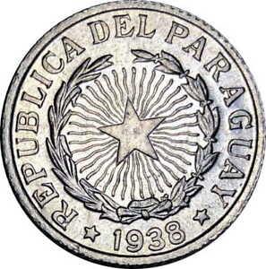 Vintage Coin Paraguay 1938 2 Pesos UNC BU  KM# 17 Aluminum US Seller