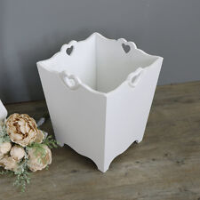 Large white wooden waste paper dust bin chic kitchen bedroom bathroom gift