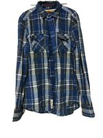 Superdry Blue Shirt Mens Long Sleeve Checked Size Medium M (D989)