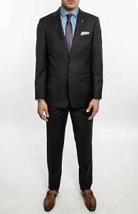 Michael Bastain Gray Label Men Charcoal Solid Slim Fit Wool Suit 48R - 41W $895