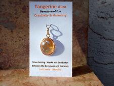 High Grade Tangerine Aura Quartz Oval Pendant! Energize! 99 % Clarity!