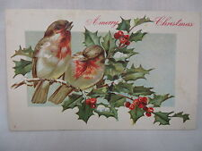 VINTAGE EMBOSSED CHRISTMAS POSTCARD 2 BIRDS ON A HOLLY BRANCH UNMAILED