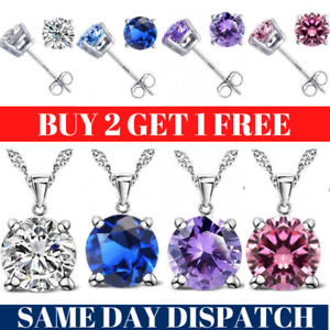 925 Sterling Silver Chain Necklace Pendant Stud Earrings Womens Jewellery Gift