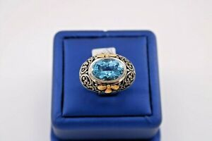Greg Anthony 18k Yellow Gold & 925 Sterling Silver Blue Topaz Ring