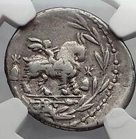 Roman Republic 85BC Vejovis Genius Goat Amaltheia Ancient Silver Coin NGC i59952
