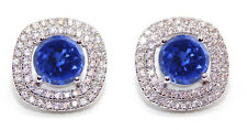 2.50 Carat 14KT White Gold Natural Blue Tanzanite EGL Certified Diamond Studs
