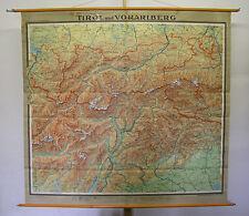 schöne Schulwandkarte Tirol und Vorarlberg Innsbruck Garda Alpen 202x189 1958