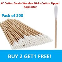 "200pc Cotton Swabs Swab Q-tips 6"" Long Wood Wooden Handle Cleaning Applicators"