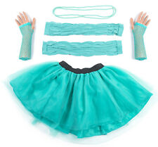 Turquoise Neon UV Tutu Set Skirt Gloves Leg Warmers Necklace Womens Fancy Dress