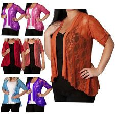 Womens Plus Size Floral Lace 3/4 Turn Up Sleeve Boyfriend Cardigans Tops 14-28