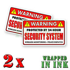 Video Surveillance Security Stickers Warning 24 hour RED REC Decal 2 PACK