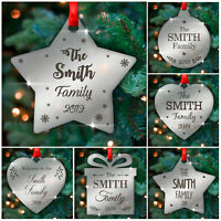 PERSONALISED Family Christmas Tree Decorations Ornaments Gifts for Family Xmas