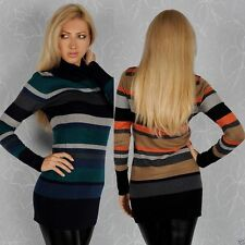 Polo Neck/Roll Neck Striped Jumper Dresses