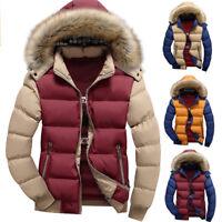 Mens Warm Down Cotton Jacket Fur Collar Padded Winter Coat Outwear Hooded Parka