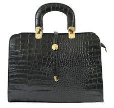 Chicca Borse borsa a mano stampa cocco 100% vera pelle Made in Italy black 2130