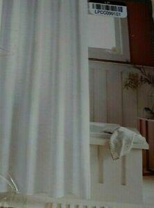 Threshold Woven Stripe Shower Curtain Standard 72 x 72 White Cotton New