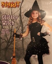 HALLOWEEN COSTUME GIRLS GLITTER WITCH SIZE MEDIUM AGE 6-10 HAT DRESS BELT GLOVES
