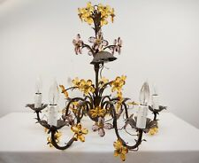 6 Arm Crystal Flower Chandelier Citrine Amethyst Tole Brass Mounts Maison Baguès