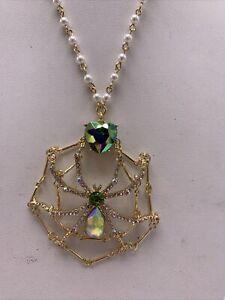 "$68 BETSEY JOHNSON Spider Web Pendant Long Necklace 32"" JS451"