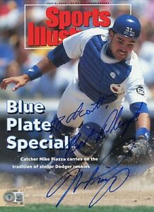 """MIKE PIAZZA """"BEST ALWAYS"""" INSCR LA DODGERS NO LABEL SPORT ILLUSTRATED SIGNED BAS"""