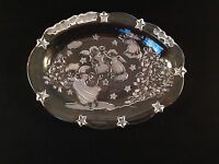 """Used Mikasa Holiday Lights Sweet Dish 9"""" Frosted Glass Angel Christmas Dish"""