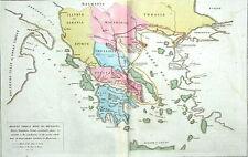 ANCIENT GREECE  LE SAGE HISTORICAL ATLAS, Hand Coloured Antique Map 1818