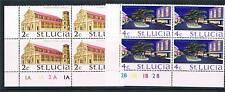 St Lucia 1974 Definitive Wmk Change Plate Blocks SG 367/8 MNH