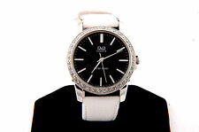 Leather Band Watch With 36 Crystal diamond Accented dial Silver Case