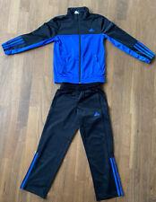 Adidas Sportanzug Jacke Hose Polyester Kinder Trainingsanzug schwarz / Blau 128