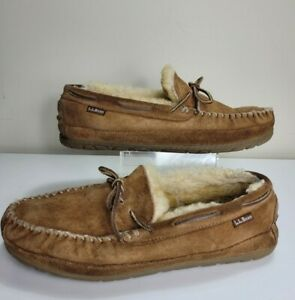 LL BEAN Men's Brown Wicked Good Moccasin Slippers Size 11 M #273064 **worn**