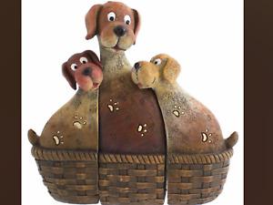 Dog family in a basket resin love children birth heart adoption present gift