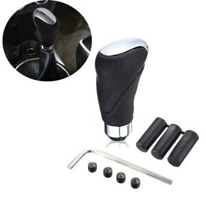 Car Black Leather Gear Shift Knob Stick Manual/Automatic Shifter Selector Lever