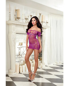 SEAMLESS FISHNET CHEMISE OFF THE SHOULDER NECKLINE KNITTED SCALLOP LACE DETAIL