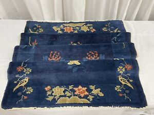 """Walter Nichols Imported Art Deco Chinese Prussian Blue Hand Knotted Area Rug 69"""""""