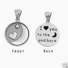 """"""" I love you to the moon and back"""" Pendant Sterling Silver 925 Oxidized Jewelry"""