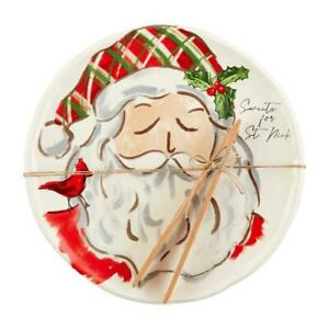 Santa's Cookie Sweets Plate and Tongs Serving Christmas Plate Set