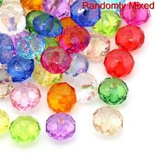100 Mixed Coloured 12x8mm Rondelle Faceted Crystal Acrylic Beads Bracelets (p)