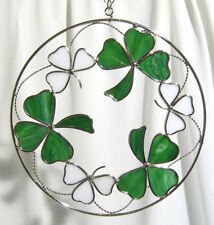 Stain Glass Emerald Green Shamrocks on a Wire Ring