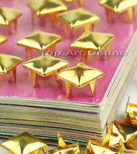 100pcs Pyramid Metal Gold Studs Spikes Spots Nailheads 8mm Square Leather Craft