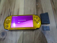 Sony PSP 3000 Console Bright Yellow w/battery pack 4GB Memory pack Japan m707