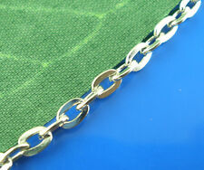 5M BD Silver Tone Flat Cable Chains Findings 3x4mm