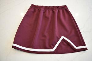 Augusta Maroon White Cheerleading Uniform Energy V Notch Cheer Skirt Sz Sm M NEW
