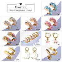 Fashion Women Lady Girl Ear Clip Hoop Earrings Crystal Rhinestone Jewelry Gift