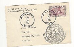 "NEWFOUNDLAND FIRST DAY COVER - 1947 - JOHN CABOT -""THE MATTHEW""- BONIVISTA NFLD."